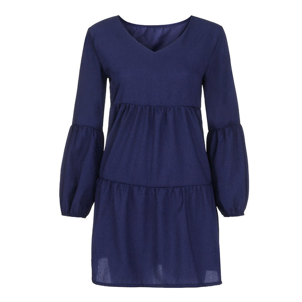 Women Autumn sexy dress in V-Neck Long Sleeve with Knee-Length