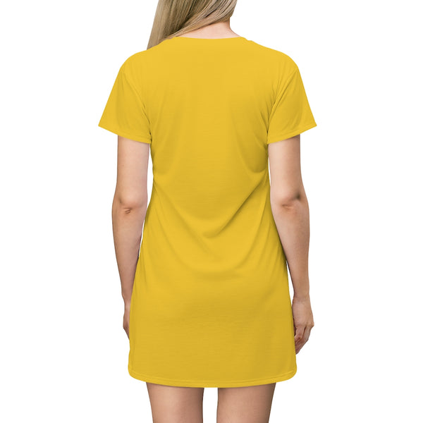 Kalent Zaiz  Sexy T-Shirt Dress (Yellow)