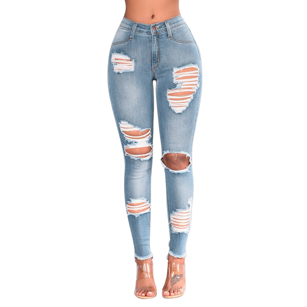 Women Denim Skinny Trousers High Waist Jeans Destroyed Knee Holes Pencil Pants Trousers Stretch Ripped Boyfriend Female #YL10