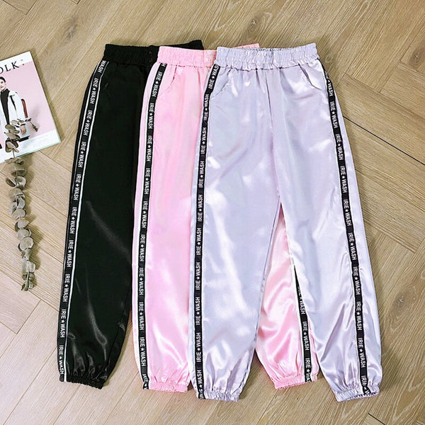 LITTHING 2019 Women Summer Pocket Satin Highlight Harem Pants Women Glossy Ribbon Trousers Harajuku Joggers Women's Loose Pants