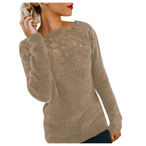 Pullovers Female Long Sleeve Winter Jumper Slim Casual Tops Warm Knitwear