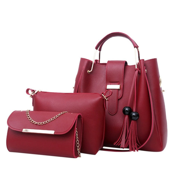 Transer women leather handbags Bags Luxury Designer purses and handbags Set 3 Pieces Bags Composite Clutch Female Bolsa Feminina
