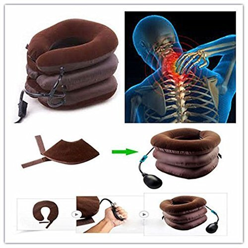 Portable 3 Layer Neck Pillow Tractor Massager Excerciser For Cervical Spine Neck Back Shoulder Pain
