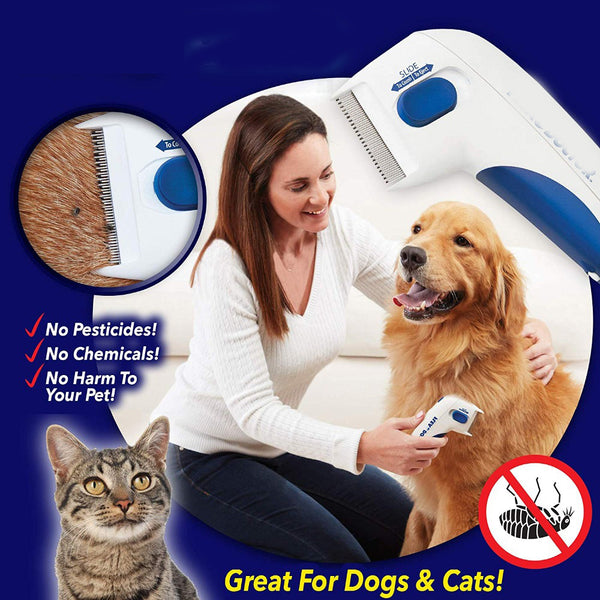 Cat Dog Electric Flea Comb Pet Removal Kill Lice Cleaner Electric Head Brush Pets Electric Comb for Fleas and Ticks Grooming Tools Remover