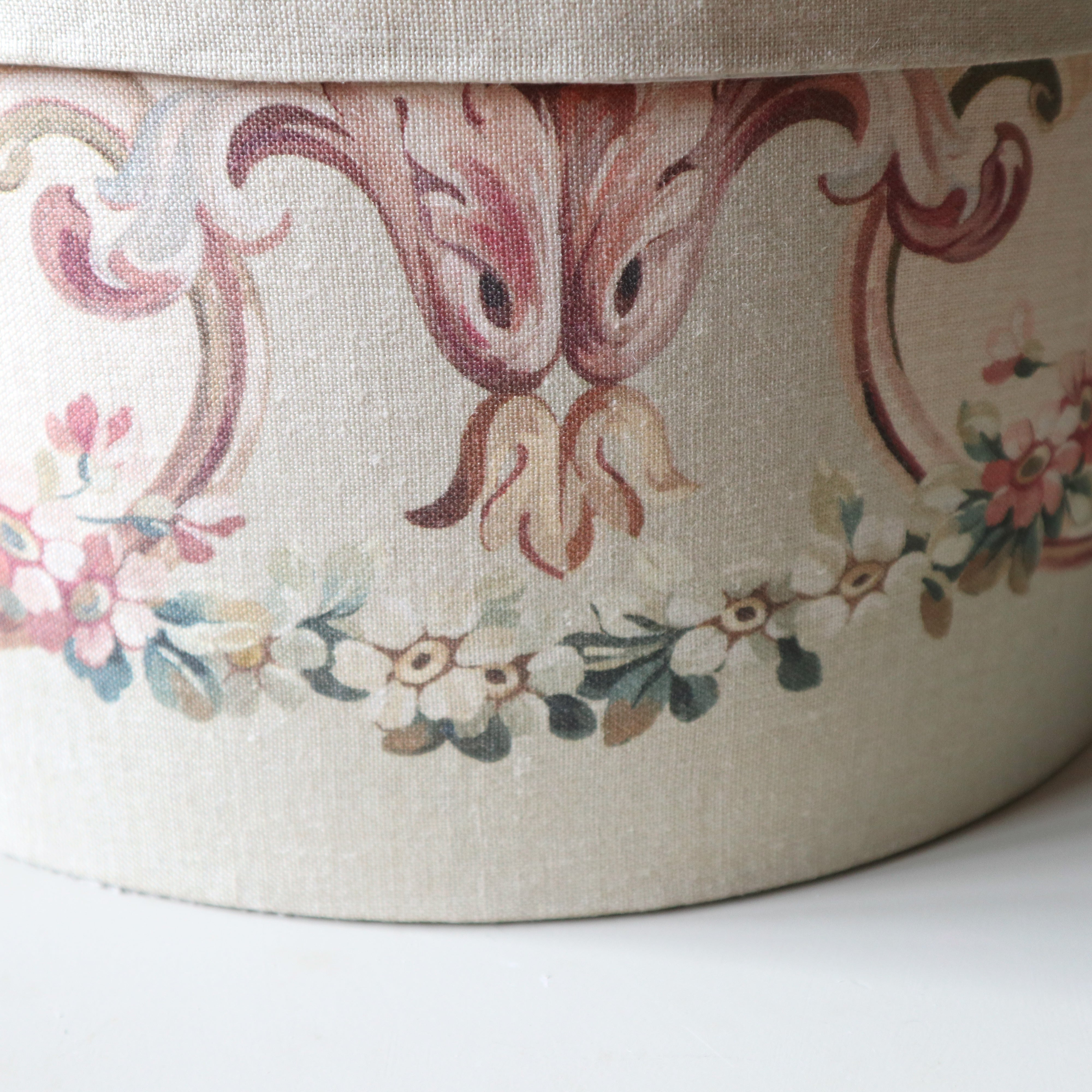 Linen Covered Aubusson Storage Box