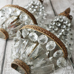 French Vintage Chic Demi Lune Glass Crystal Gilt Metal Wall Lights