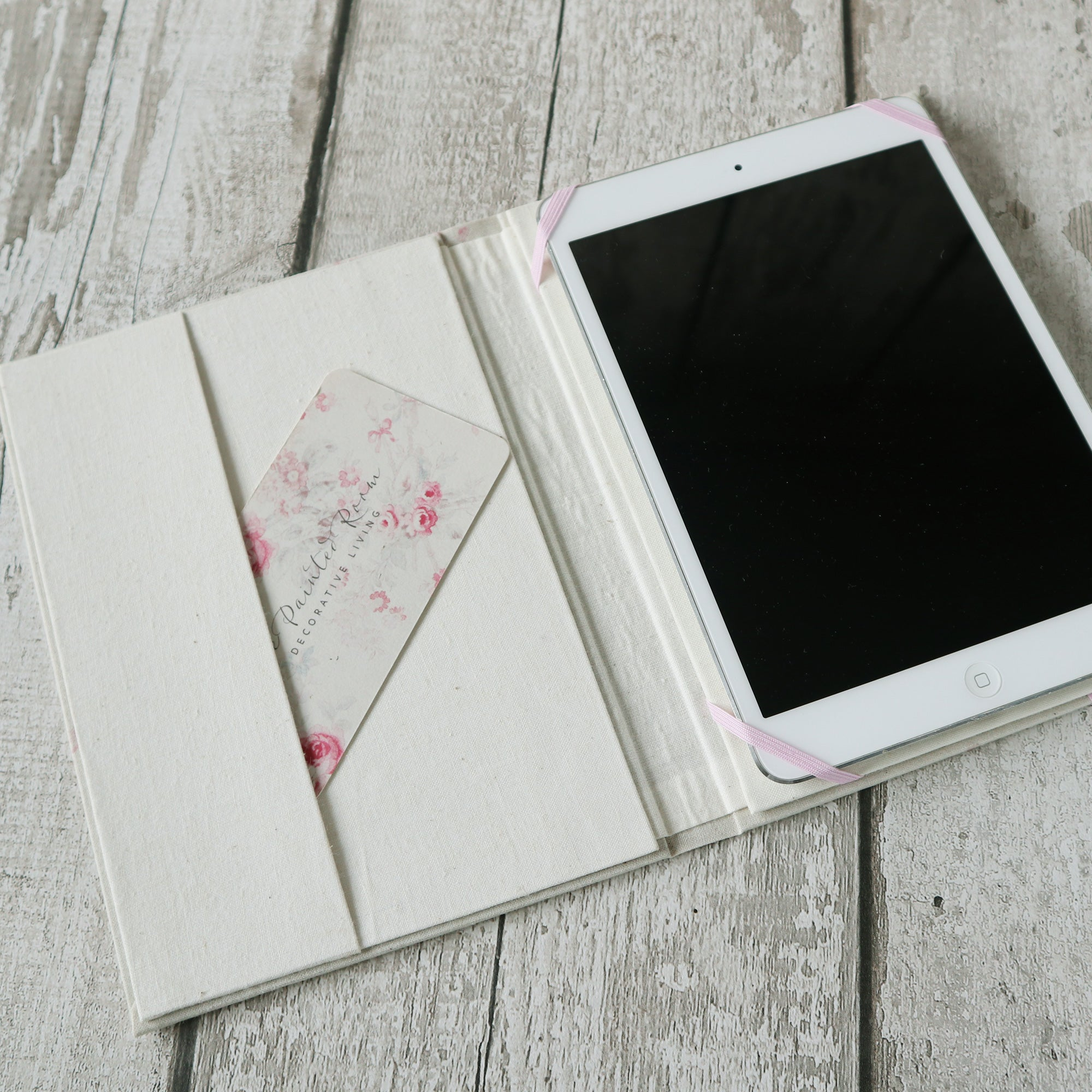 Handmade vintage fabric covered ipad mini / kindle paperwhite holder hardcover case protector
