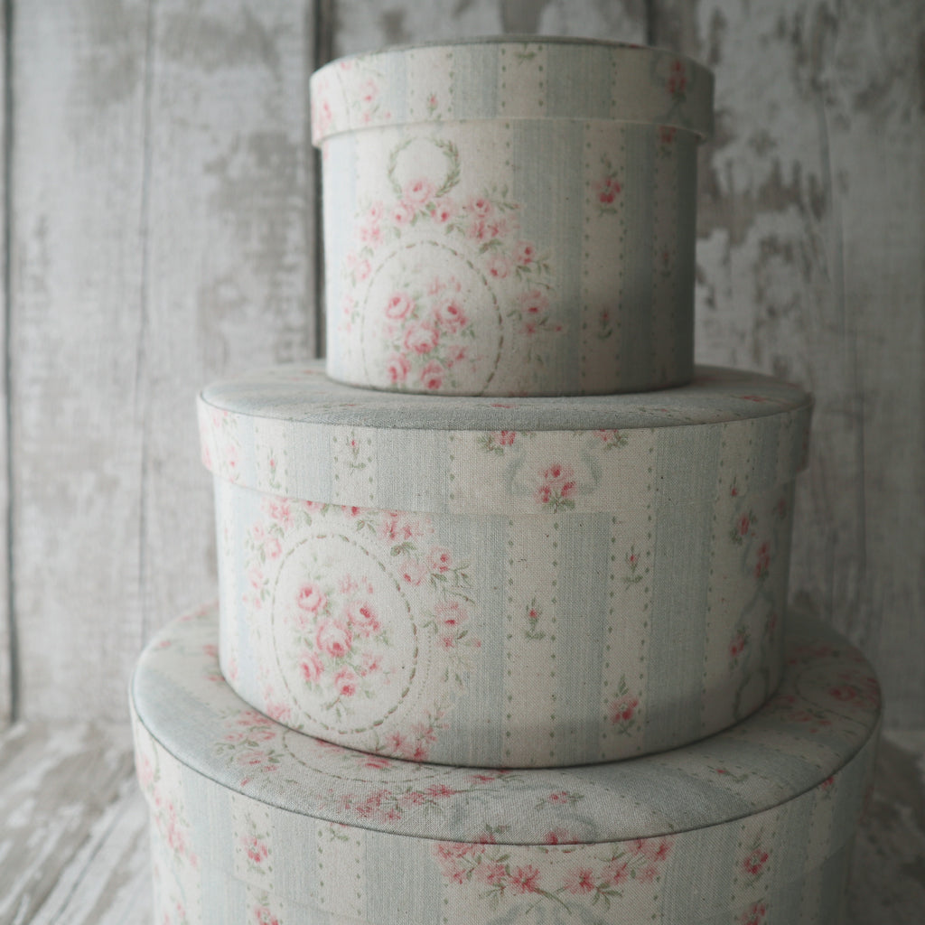 Fabric Covered Round Storage Boxes
