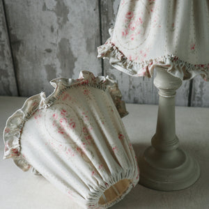 Small Gathered Textile Lampshade with Scalloped Ruffle Edge/Trim