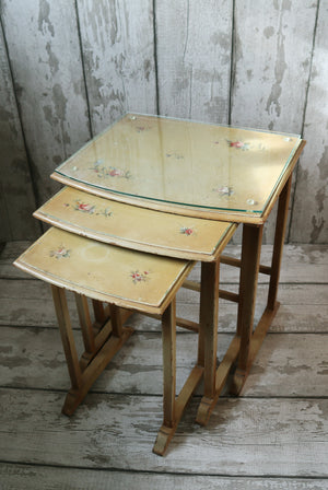 Rare Polychrome Painted Nesting Tables circa 1930's