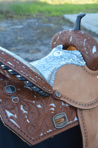 Alamo Saddlery Python Seat Toast Leather Barrel Saddle