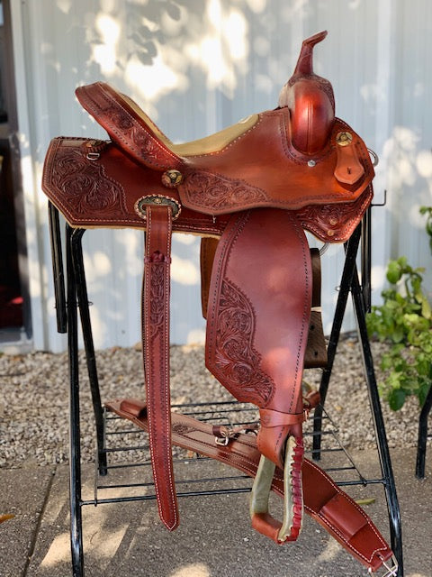 Alamo Saddlery Full Spot Tooled Barrel Saddle