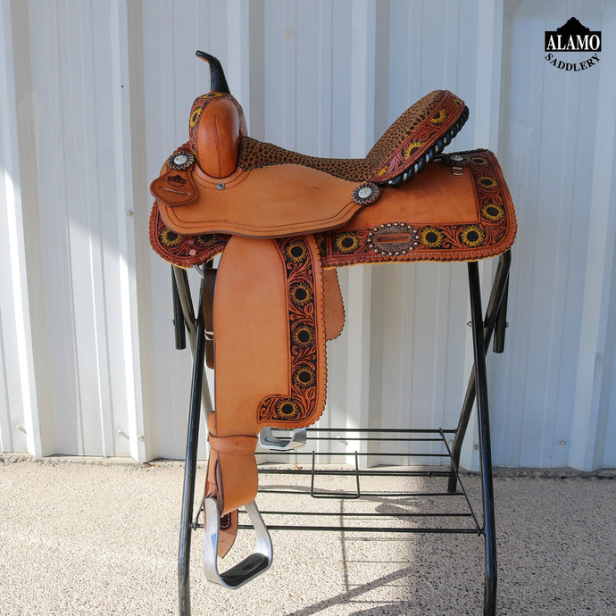 Alamo Saddlery Sunflower Border Barrel Saddle
