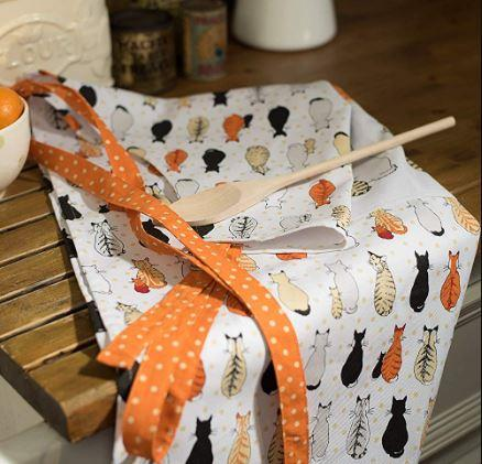 Ulster Weavers Cats Apron On Kitchen Counter Side With Wooden Spoon