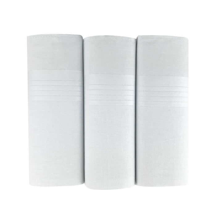 3 Pack Mens/Gentlemens Handkerchiefs White Cotton Satin Stripe Border Gift Boxed