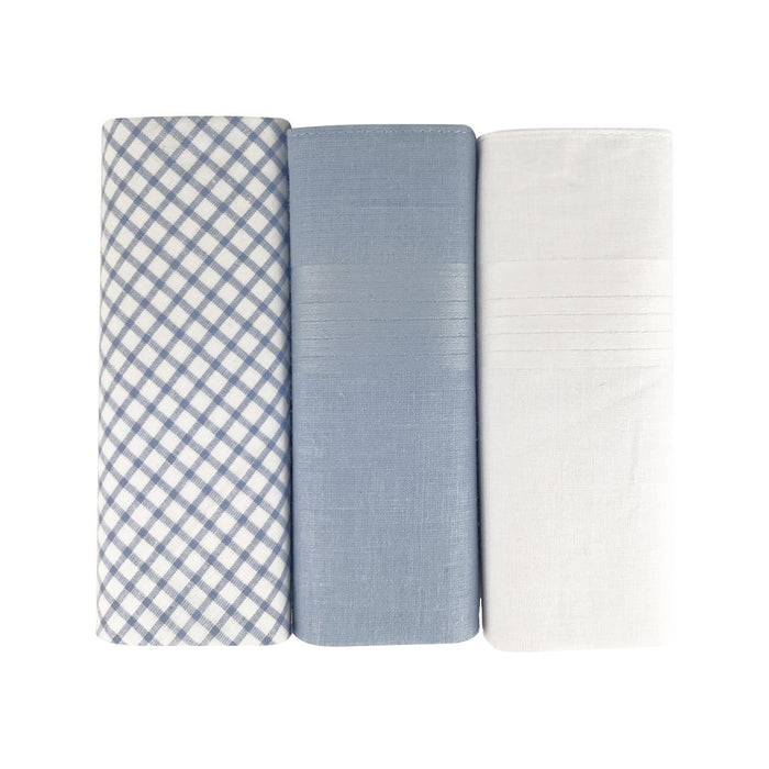 3 Pack Mens/Gentlemens Handkerchiefs Cotton Check and Dyed Satin Hem Gift Boxed