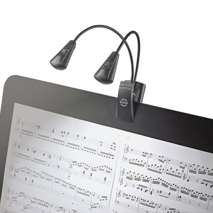 K&M Double FlexLight LED Clip On Music Stand Light With Flexible Goosenecks, Powered By 3 AAA Batteries