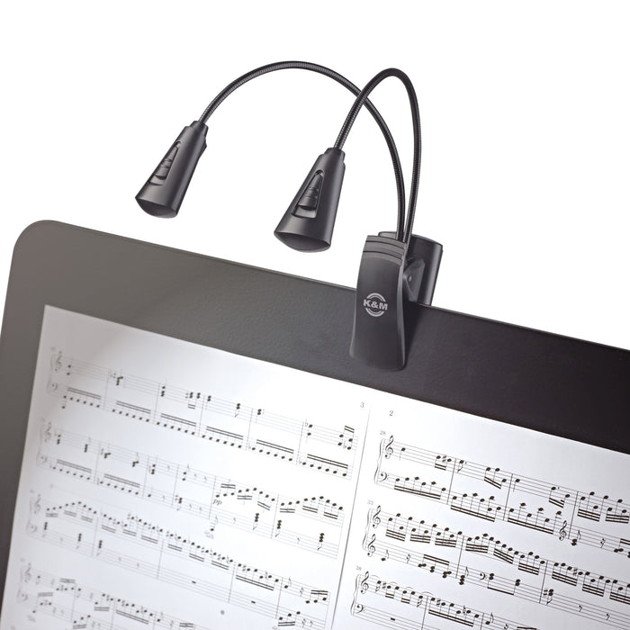 K&M Double FlexLight 4 LED Clip On Music Stand Light With Flexible Goosenecks, Powered By 3 AAA Batteries