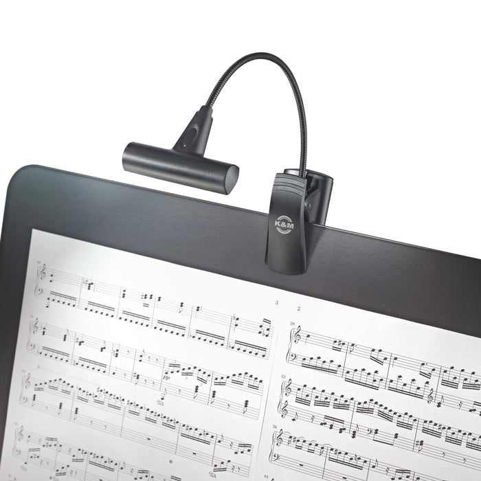 K&M T-Model FlexLight 8 LED Clip On Music Stand Light With Flexible Goosenecks, Powered By 3 AAA Batteries