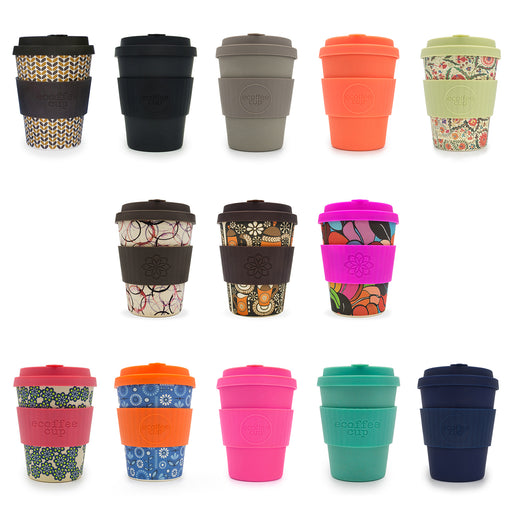 Selection of reusable travel mugs made from bamboo fibre