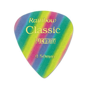 6 Pickboy Guitar Picks/Plectrums - Classic Rainbow - Multi - Medium 0.50mm