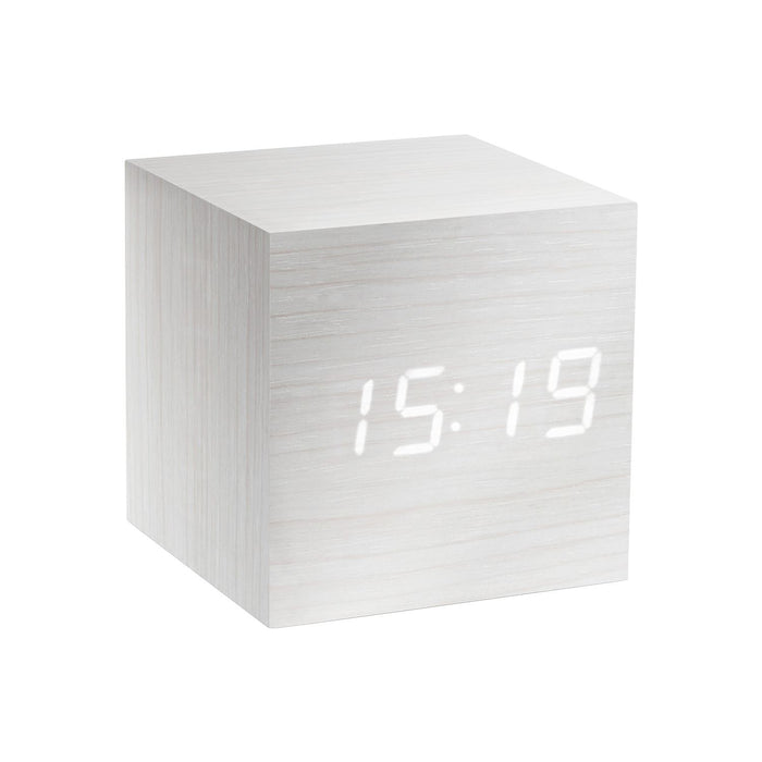 Gingko Cube LED Click Clock Alarm Clock With Sound Activation (Time, Date & Temperature), Various Colours & Styles
