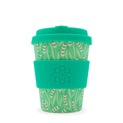 ecoffee tiny garden collaboration bamboo coffee cup with green lid and sleeve and wildflower design