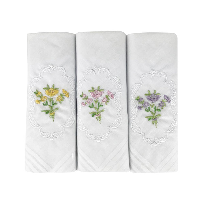 3 Pack Womens/Ladies Handkerchiefs Floral White Cotton Embroidered Gift Boxed