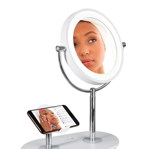 LED Ring Light Make Up Mirror With Phone Charigng Standing