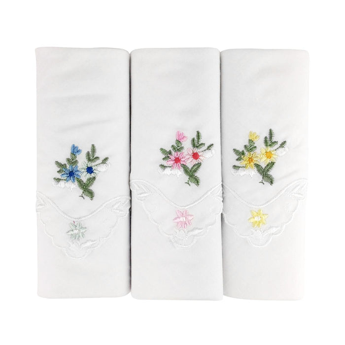3 Pack Womens/Ladies Handkerchiefs Floral White Cotton Scallop Lace Edge Boxed