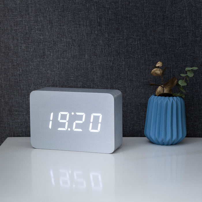 Gingko Brick LED Click Clock Rechargeable Alarm Clock With Sound Activation