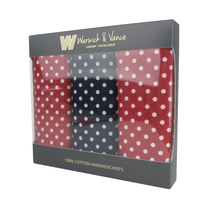 3 Pack Assorted Mens/Gentlemens Handkerchiefs Cotton Spotted Gift Boxed 55x55cm