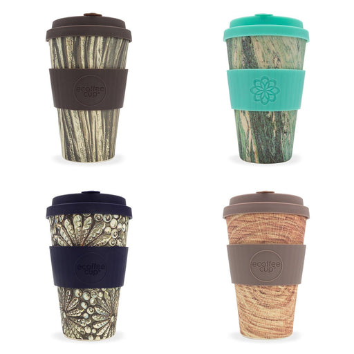 selection of ecoffee bamboo 14oz travel cups in collaboration with Stein & Holz