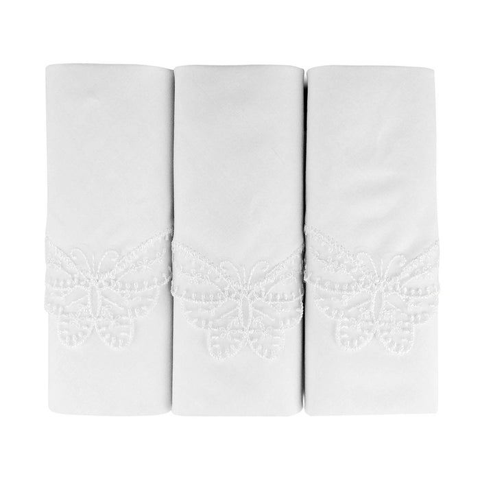 3 Pack Womens/Ladies Handkerchiefs Butterfly White Cotton Lace Corner Gift Boxed