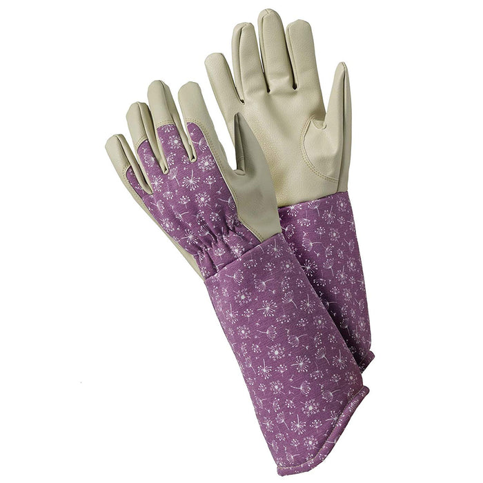 Womens/Ladies Protective Purple Gardening Gloves Long Length Gauntlett Stye