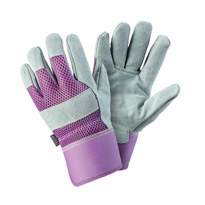 Womens/Ladies Purple Leather Rigger Gardening Gloves With Breathable Material