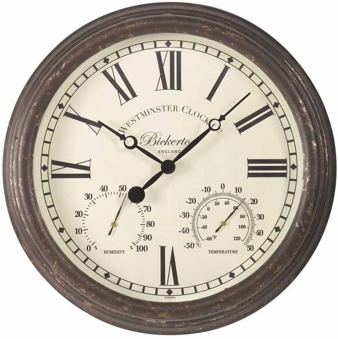 Bickerton Wall Clock with Thermometer and Hygrometer 15""