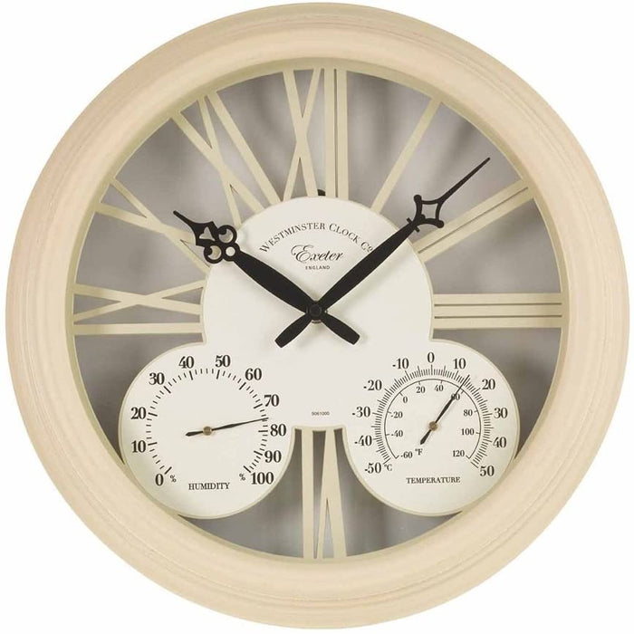 Outside In Exeter Wall Clock & Thermometer 15""