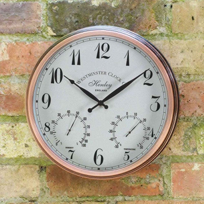 Outside In Henley Wall Clock & Thermometer 12""