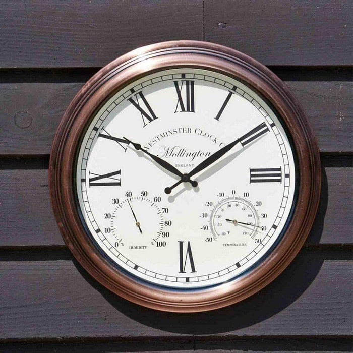 Outside In Mollington Wall Clock & Thermometer 15""