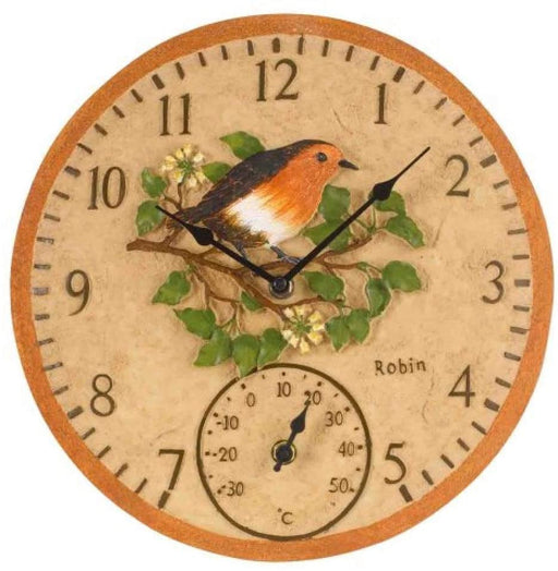 Outdoor Wall Clock Robin Bird With Foliage Clock Face With Temperature Gauge