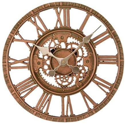 Outdoor Wall Clock Newby Mechanical Cogs Bronze