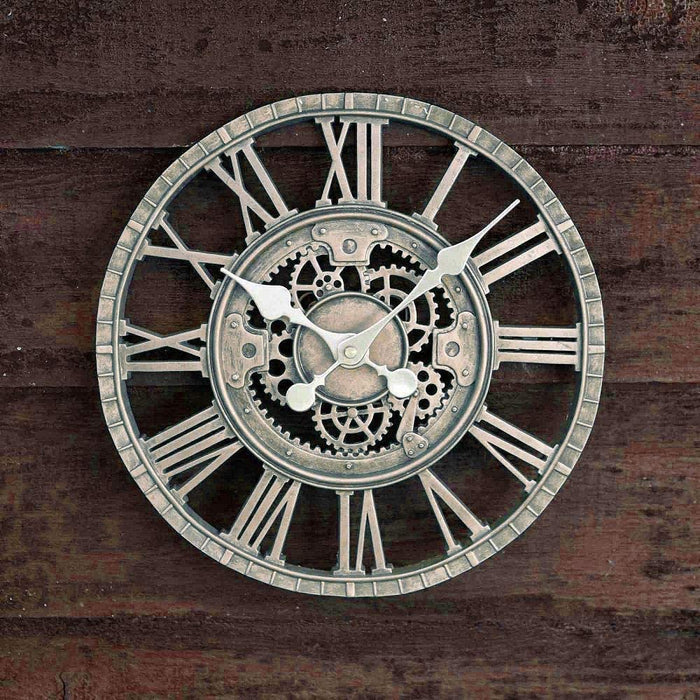 Outdoor/Indoor Garden Wall Clock Mechanical Metal Cogs Weather Resistant Frame