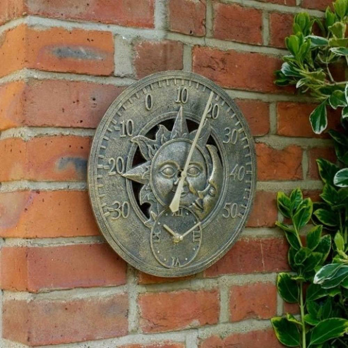 "Outdoor/Indoor Garden Wall Clock 12"" Sun Moon Clock Face With Thermometer Gauge"