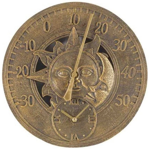 Outdoor Wall Clock Sun Moon Gold Numbered Clock Face