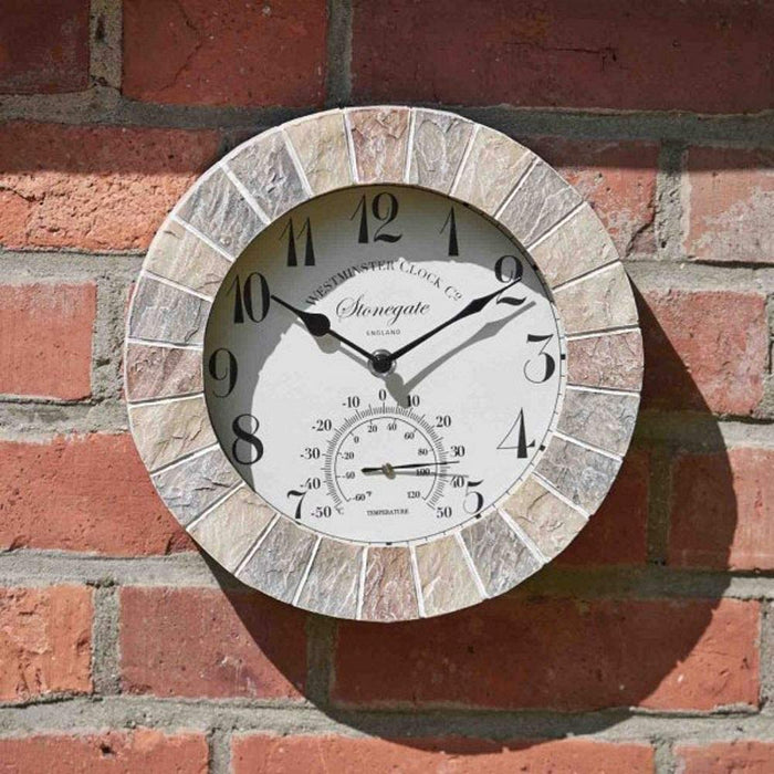 "Outdoor/Indoor Garden Wall Clock 10"" Stonegate Sandstone With Thermometer Gauge"