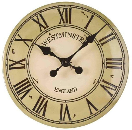 Westminster Clock Face Outdoor Wall Clock Cream