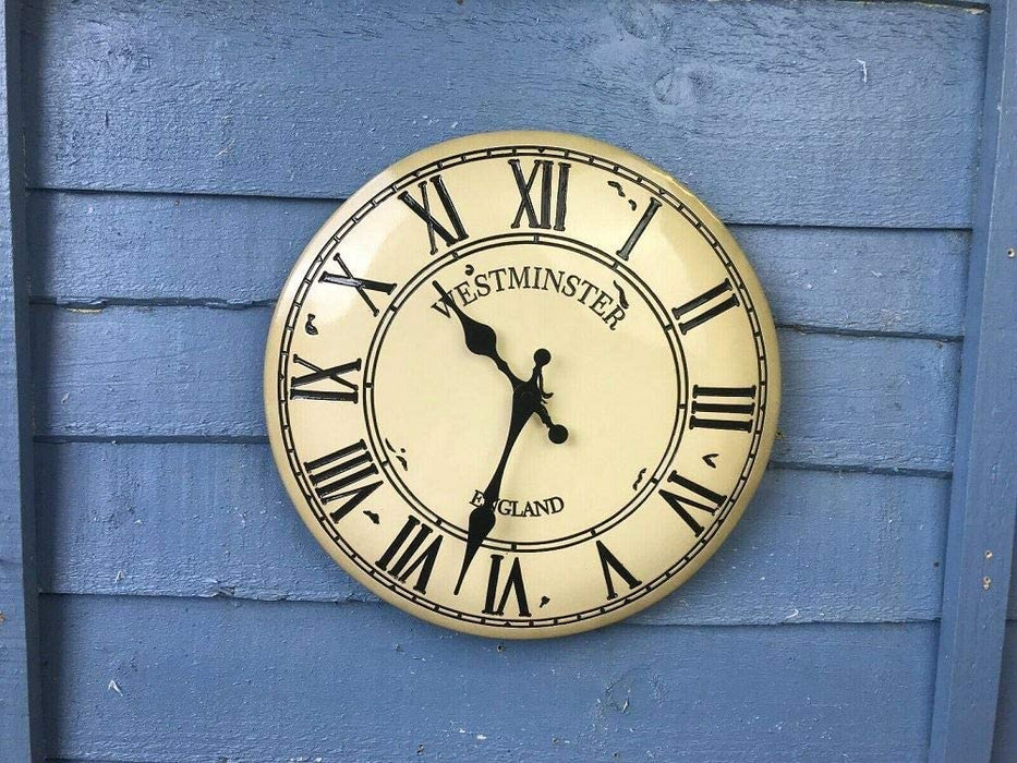 "Outdoor/Indoor Garden Wall Clock 12"" Westminster Weather Resistant Clock Face"