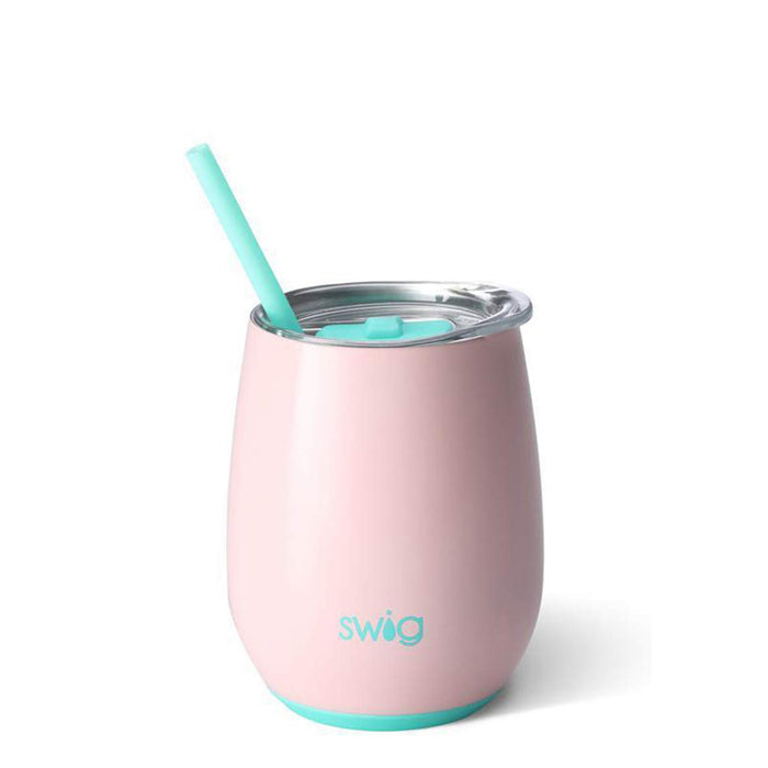 shop stainless steel pink stemless wine cup with straw