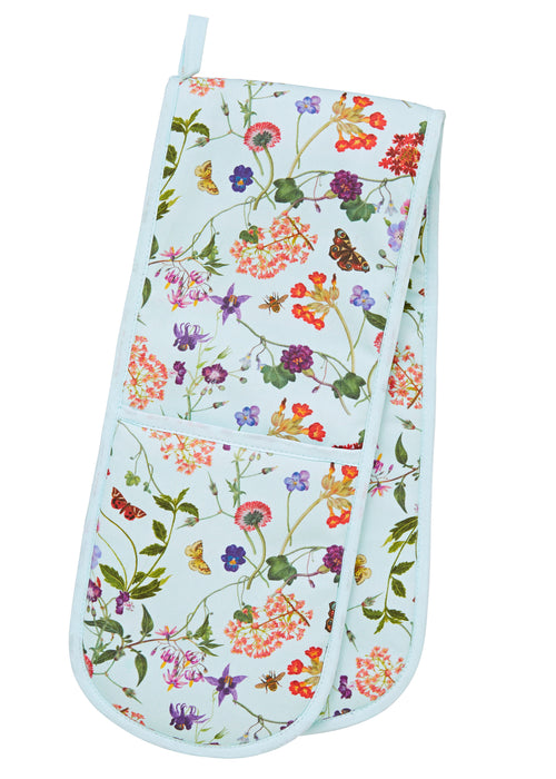 Pale Blue Double Oven Gloves With Wildflower Floral Design